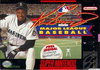 ken griffey jr presents major league baseball snes box cover
