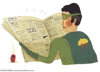 superhero reads newspaper