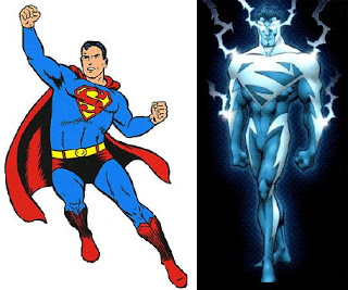superman costume old and new lightning