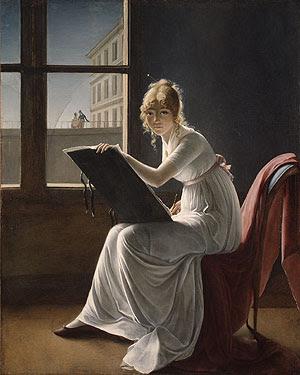 constance woman making art by window