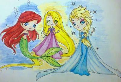 ariel rapunzel elsa drawing disney
