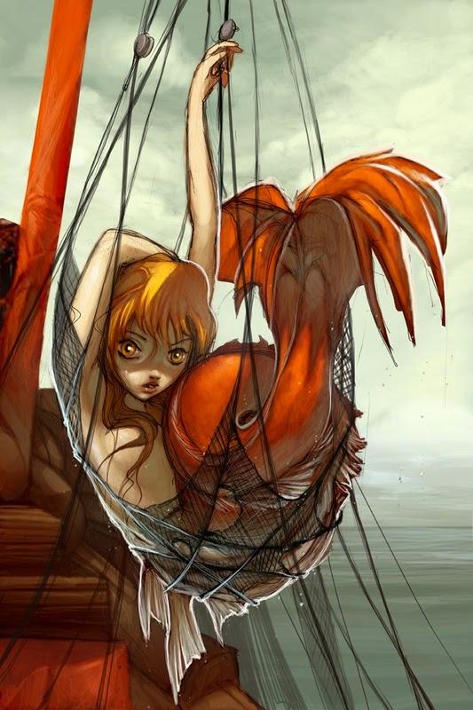 mermaid caught in fishing net