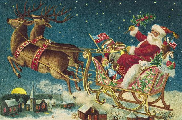 santa claus sleigh reindeer christmas flag