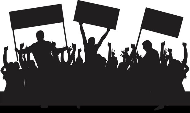 political protest silhouette