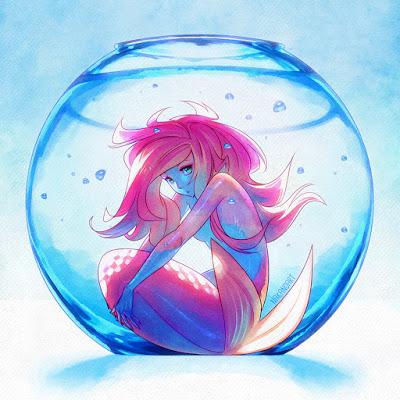 mermaid in fishbowl